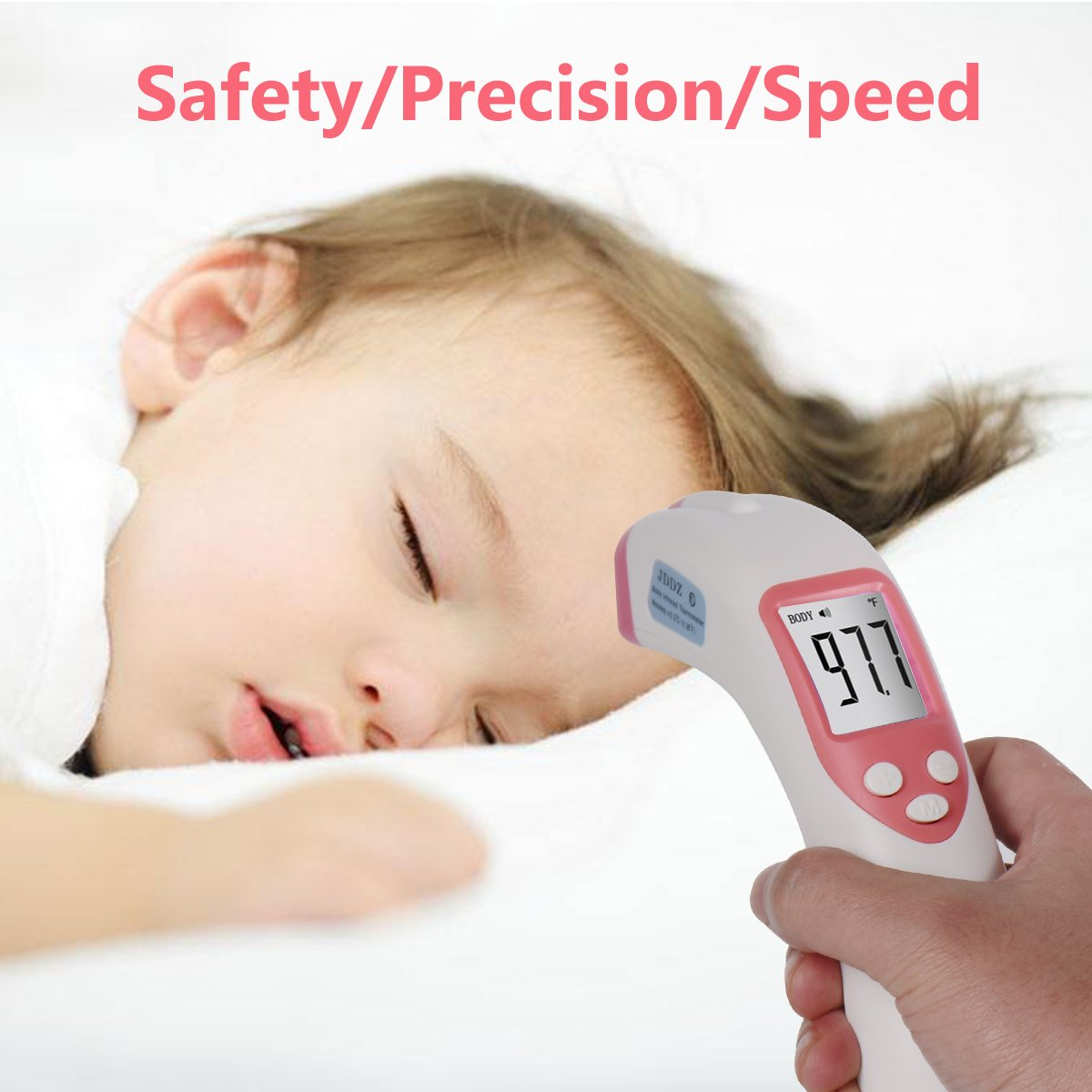 Forehead Thermometer, JDDZ Non-Contact Infants Infrared Thermometer, Professional Clinical Instant Digital Fever Temperature Scanner for Baby,Kids and Home with Bilingual Celsius Fahrenheit(Pink) by JDDZ (Image #7)