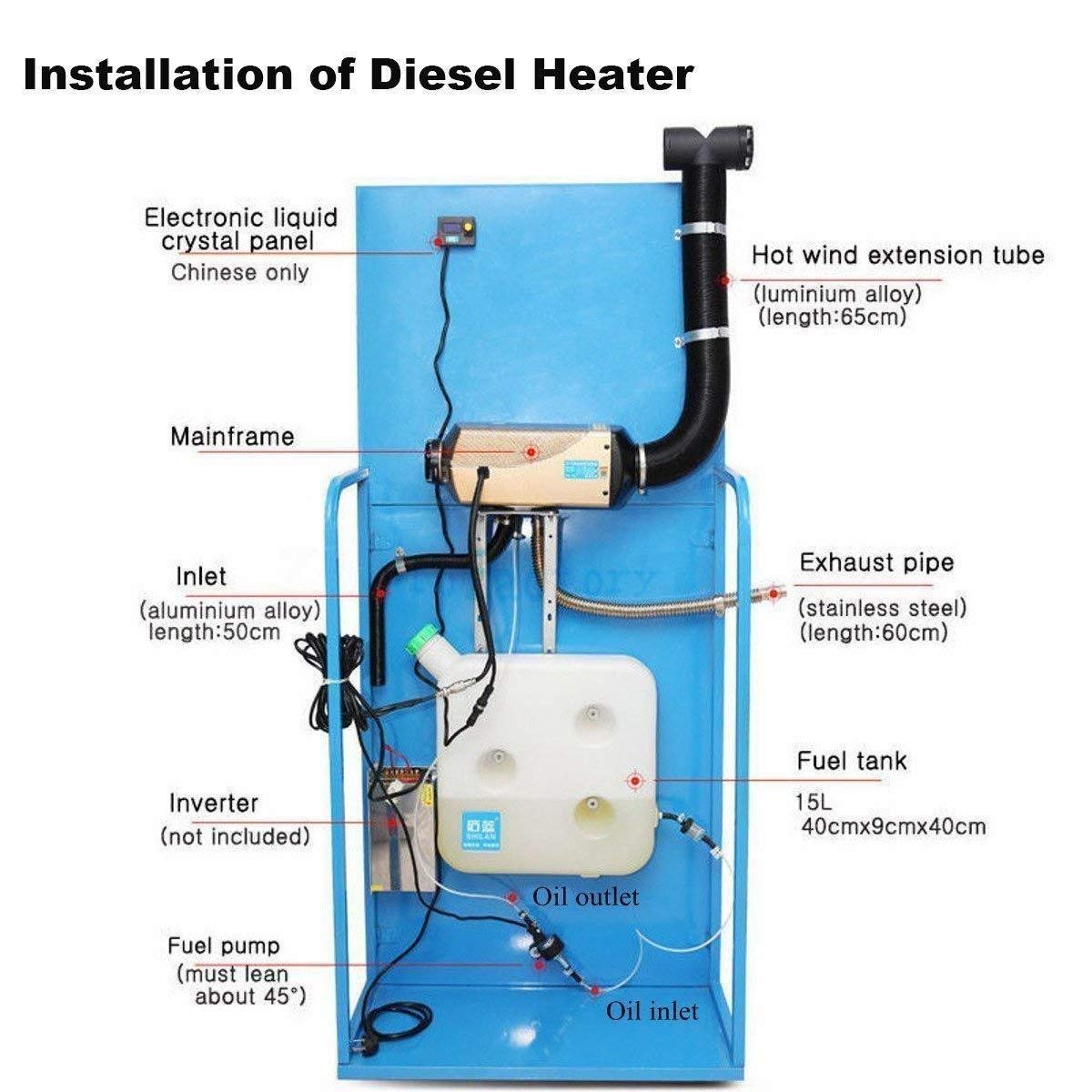Yunge 5kw 12v Air Diesel Fuel Heater Plarnar For Car Rv Rover 45 Wiring Diagram Truck Motor Homes Boats Bus Automotive
