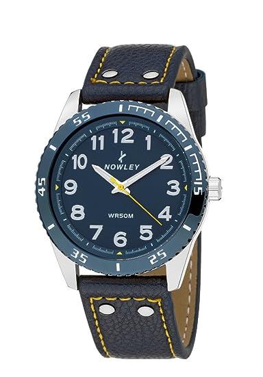 Reloj Hombre , marca Nowley , esfera azul y correa en cuero azul: Amazon.es: Relojes