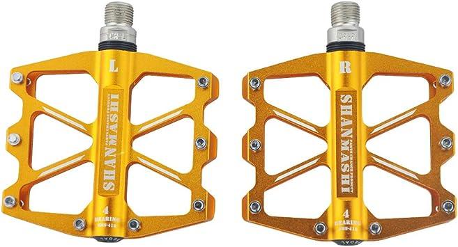 upanbike 4 rodamientos sellados pedales para Bicicleta de montaña aluminio bicicleta de carretera soporte de plataforma, dorado: Amazon.es: Deportes y aire libre