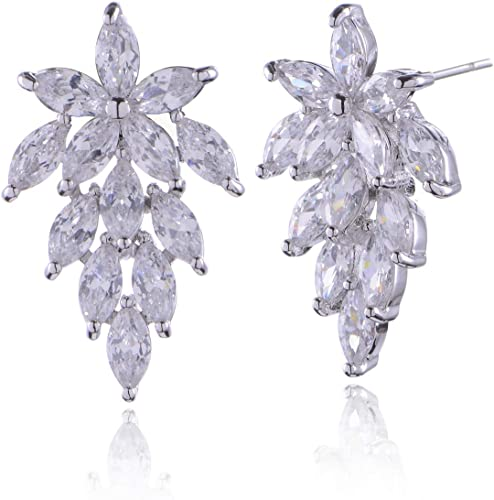 Sterling Silver Dancing CZ Marquise Stud Earrings