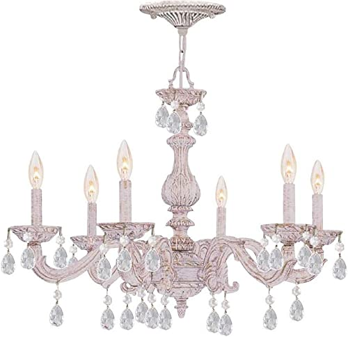 5036-AW-CL-MWP Sutton 6LT Chandelier, Antique White Finish with Clear Hand Cut Crystals