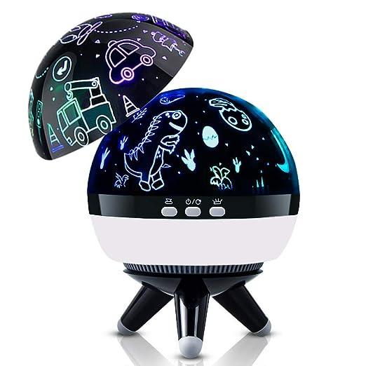 Lampara Proyector Infantil, Dinosaurio Luz de Noche Lámpara para Niños, 360° Rotación y 8 Modos Romántica Lampara de Niños, Luz de Nocturna para ...