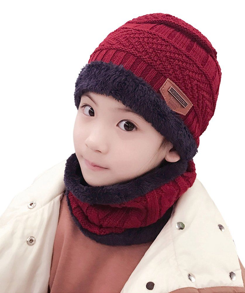 HINDAWI Winter Hats Scarf for Boys Girls (5-8 Years) Warm Snow Knit Beanie  Windproof Circle Scarf Kids Slouchy Skull Cap Red 79e392b4d3ef