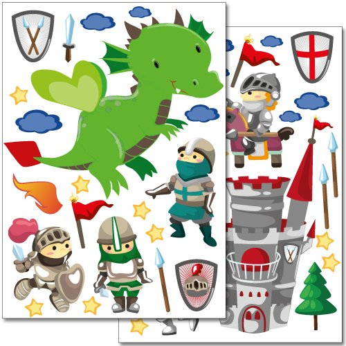Wandkings wall stickers Knights Sticker Set – 40 stickers on 2 US letter sheets (each 8.3 x 11.7 inch) - Medieval 2 Letter