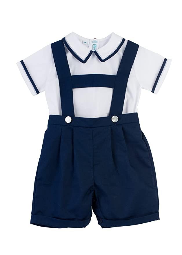 1930s Childrens Fashion: Girls, Boys, Toddler, Baby Costumes Feltman Brothers Boys White/Navy 2 Pc Suspender Short Set (2T) $57.00 AT vintagedancer.com