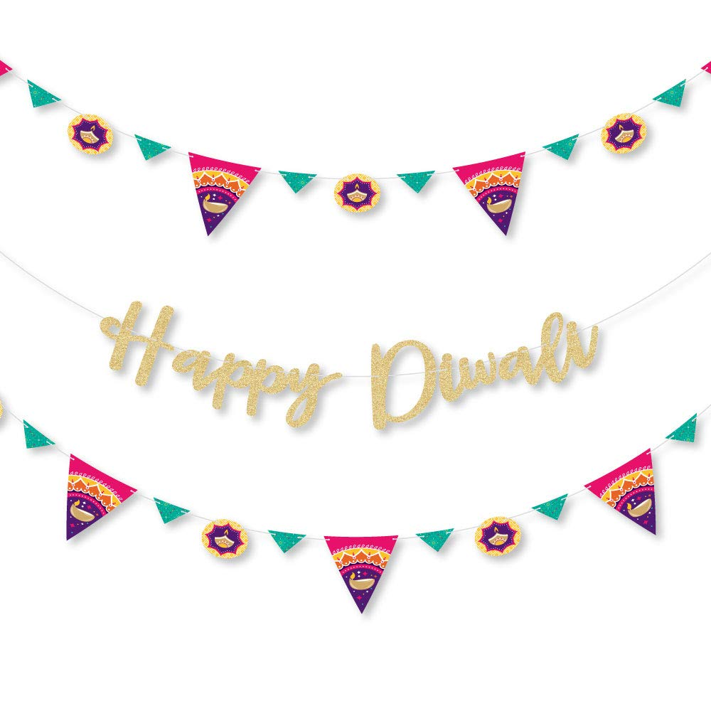 Big Dot of Happiness Happy Diwali - Festival of Lights Party Letter Banner Decoration - 36 Banner Cutouts and No-Mess Real Gold Glitter Happy Diwali Banner Letters by Big Dot of Happiness