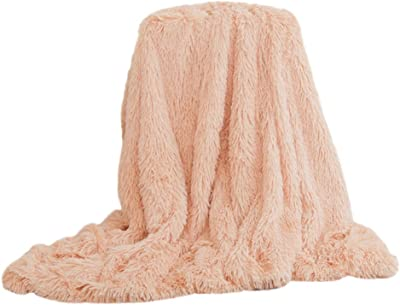 Eight24hours Super Soft Baby Blanket Large Faux Fur Long Pile Warm Shaggy Throws - Milk Tea Color