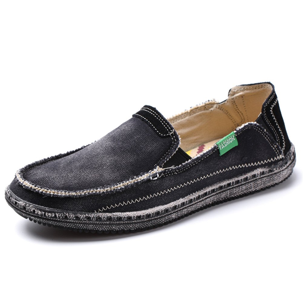 L-RUN Men's Summer Boat Shoes Classic Slip-On Canvas Loafer Casual Black 11 M US