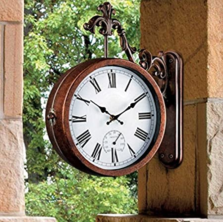 amazoncom vintage style 2 sided outdoor thermometer wall clock with mounting bracket home u0026 kitchen