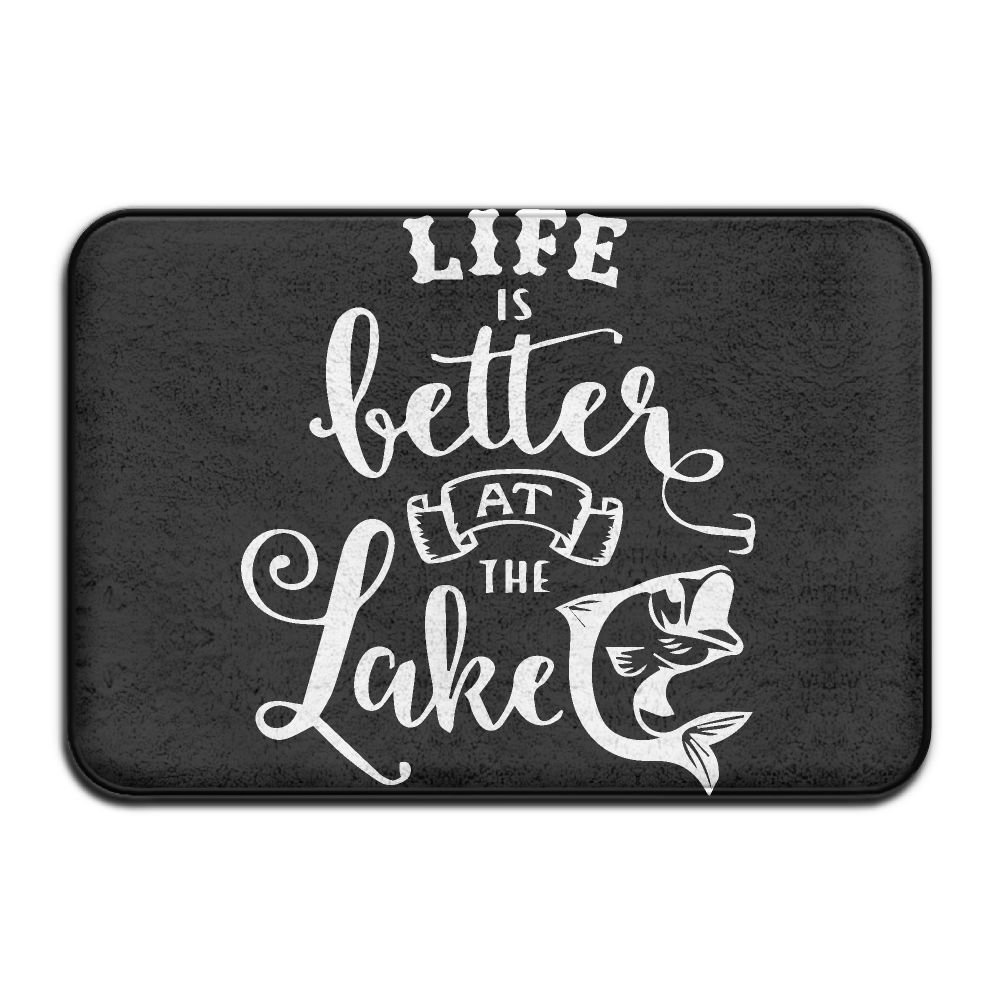 Youbah-01 Indoor/Outdoor Door Mats With Life Is Better At The Lake-1 Graphic For Dining Hallway Bathroom