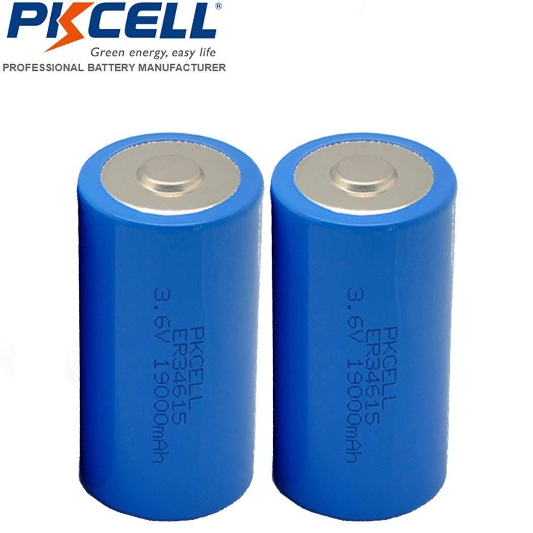 2 Pack D Cell 3.6V ER34615 19000mAh Lithium Battery by PKCELL
