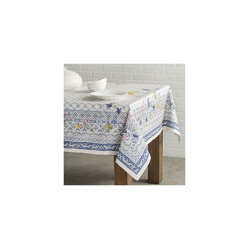 Maison d' Hermine Faïence 100% Cotton Tablecloth for Kitchen Dinning Tabletop Decoration Parties Weddings Spring Summer (Square, 54 Inch by 54 Inch).