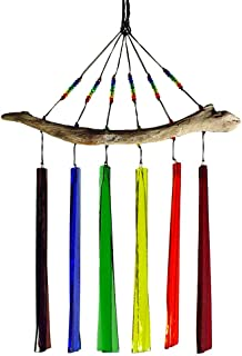 product image for American Made Fused Glass Windchime - Rainbow Colors, 6-Chime Version