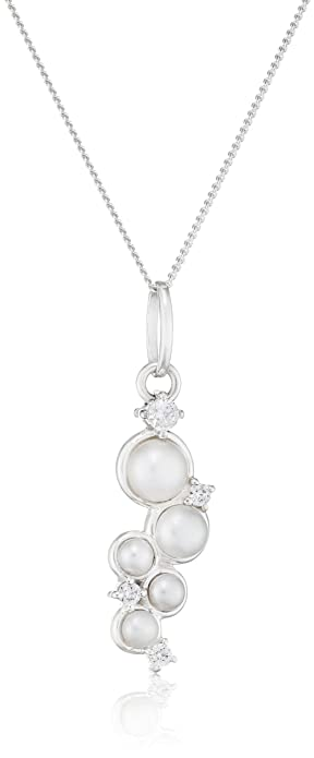 4fea1204b89cee Elements Silver Pearl and Cubic Zirconia Silver Pendant on a Chain of  Length 41cm: Amazon.co.uk: Jewellery