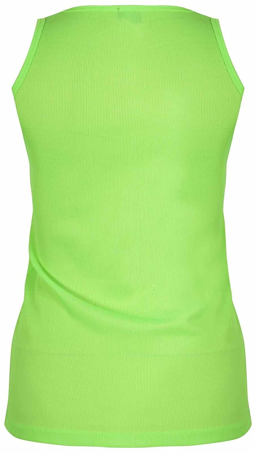 f3790a618ed New Womens Plus Size Fluorescent Neon Colour Ribbed Fitted Vest Tops ( Neon  Green