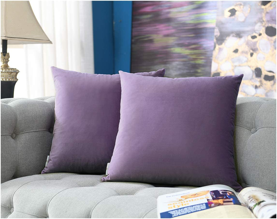 COMFORTLAND 16 x 16 Pack of 2 Soft Velvet Solid Decorative Square Throw Pillow Covers Set Accent Pillow Cases Euro Cushion Covers for Farmhouse Indoor Bedroom Sofa Couch Bed Kids,Violet