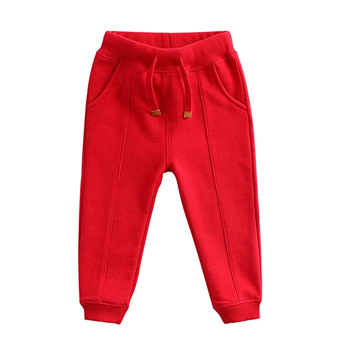 d00a68d4e03ee marc janie Baby Boys Girls Kids' Cotton Knit Elastic Pants 3 Years Deep Red  81666