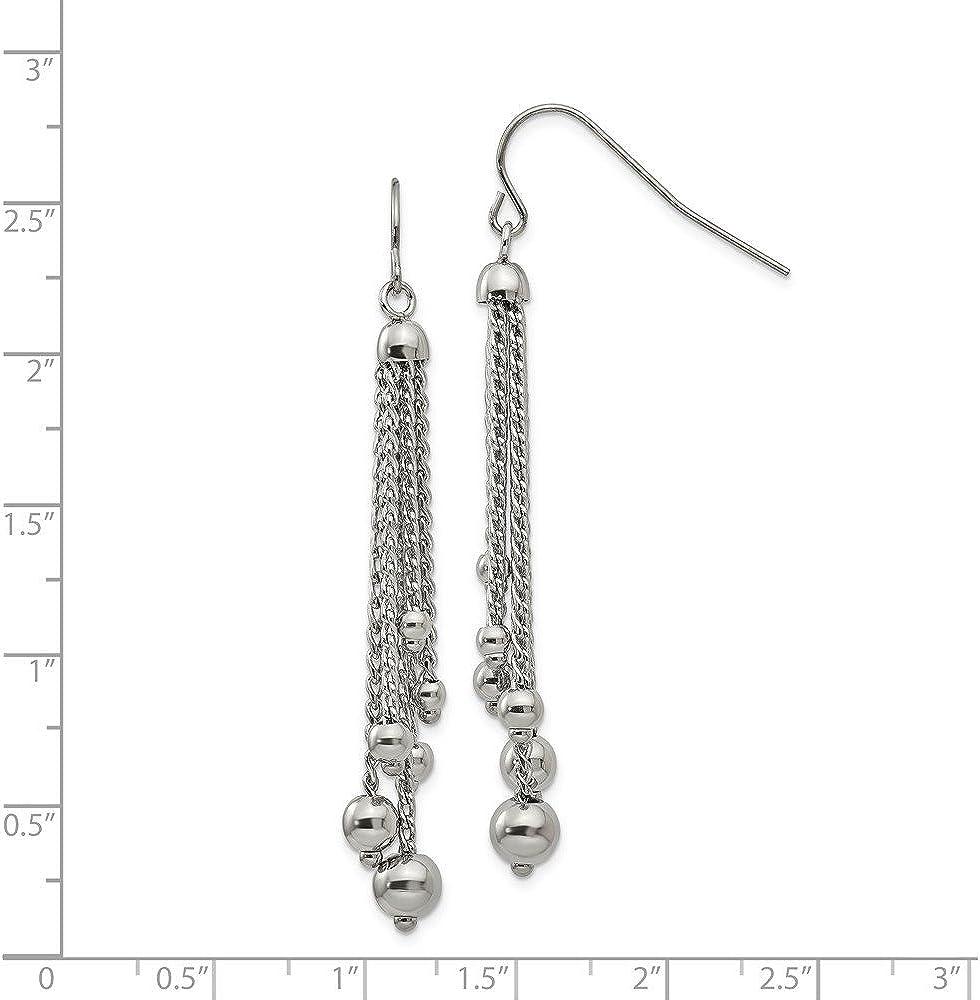 Stainless Steel Polished Dangle Shepherd Hook Earrings
