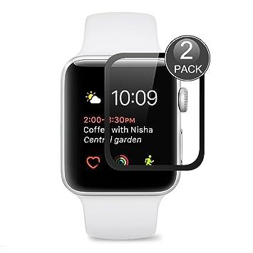 Protector de Pantalla Para Apple Watch 42mm ,EUGO Cobertura Completa 9H Dureza Vidrio Templado Cristal Templado para Apple Watch Series 1/Series 2/ Series 3 ...