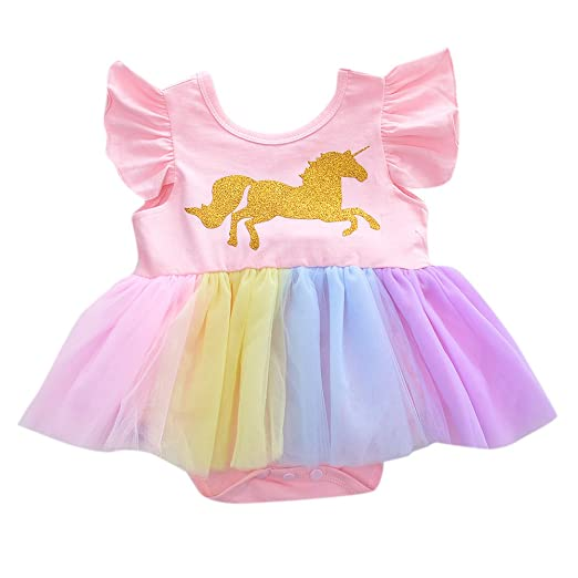 Amazon.com: Amyove Baby Child Jumpsuit Dress Cartoon Golden Unicorn Pink Color Princess gause Short Skirt: Clothing