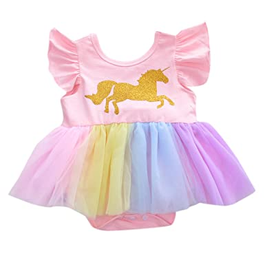 Amyove Baby Child Jumpsuit Dress Cartoon Golden Unicorn Pink Color Princess gause Short Skirt