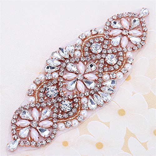 """Elegant Handmade Wedding Rhinestone Applique with Pearls for Dresses and Bridal Belts or Headpieces-Beaded Rhinestones Sewing or Hot Fix-Rose Gold-1 Piece-(5.5""""2""""in) ()"""