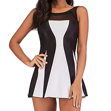 ea1fd704558 Maillot De Bain Femme 1 Pieces Grande Taille ELECTRI Femme Tankini Amincissant  Push-up Robe