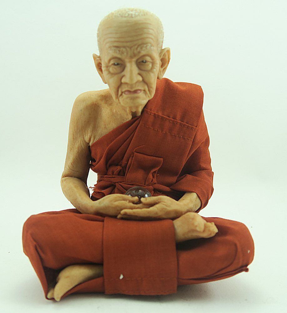 "5""w Thai Lifelike / Realistic Buddhist Monk ""Luang Pu Thuat"" Fiber Statue"