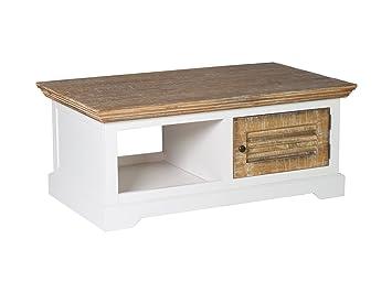 WoodkingsR Couchtisch Manila 120x70cm Echtholz Pinie Rustikal MDF Weiss Wohnzimmertisch