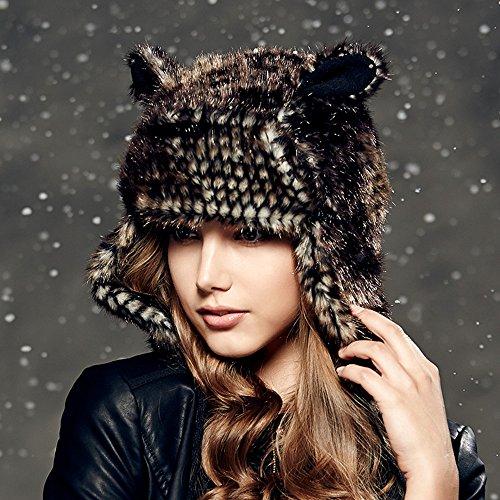 Kenmont Winter Warm Women Lady Earflap Outdoor Animal Bomber Aviator Hat Ski Cap