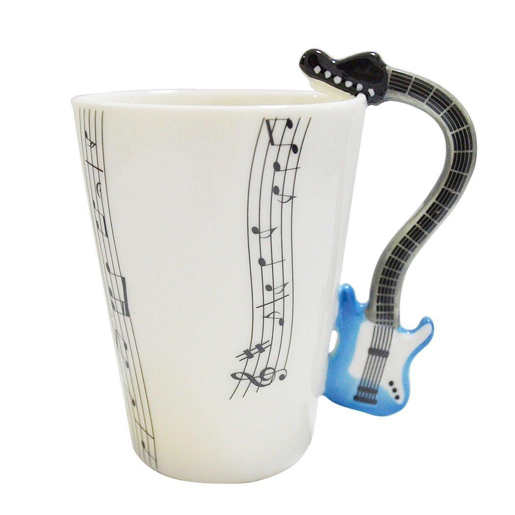 Giftgarden Tasse à Thé Tasse à café Tasse de Musique avec Pogné en Forme Violon Cadeau Mugs en Porcelaine Sainthood