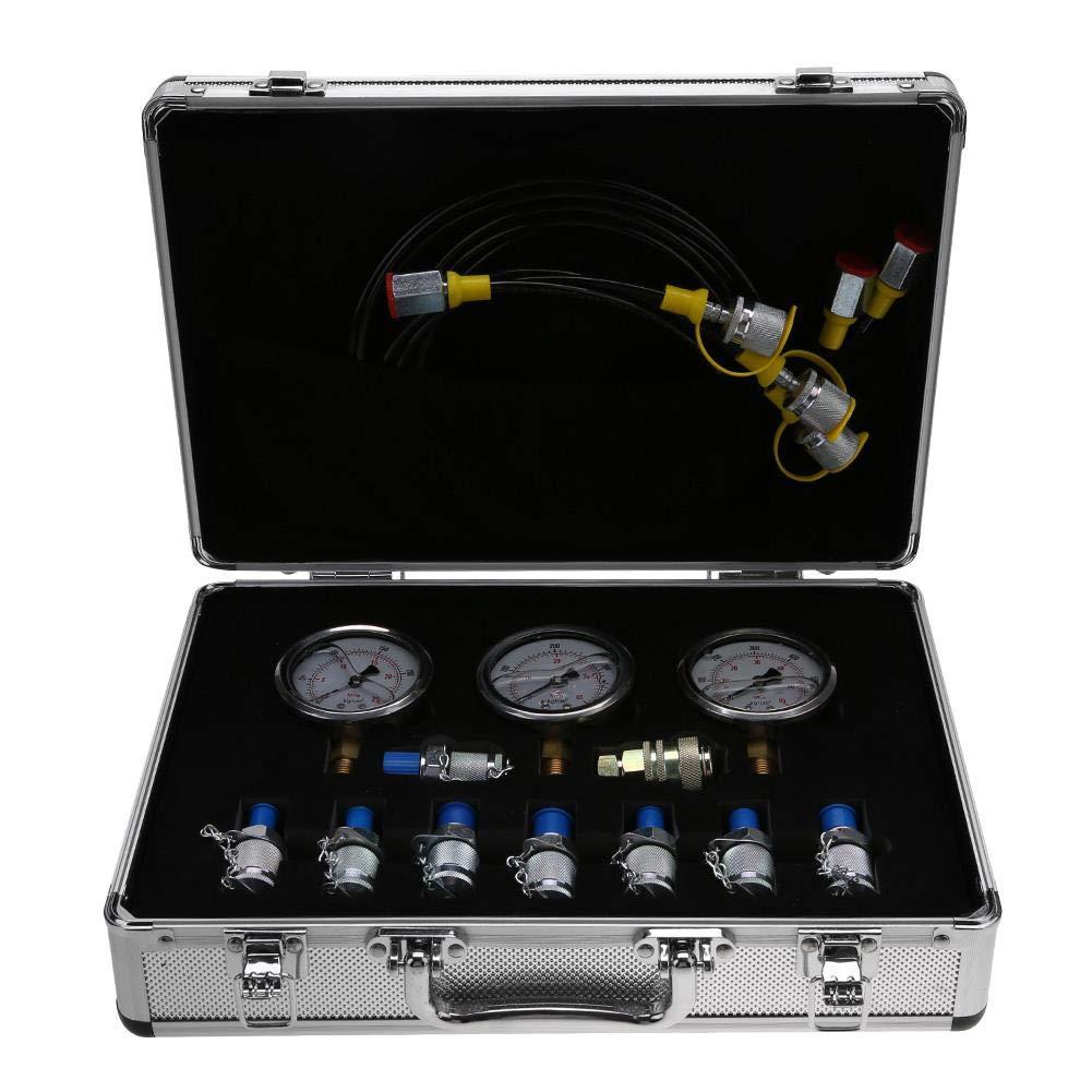Kit de Test de Pression Hydraulique pour test de Pression Hydraulique d'excavatrice de Machines de Construction, avec Raccord de Point de test, Manomètre, Tuyau d'essai, Connecteur