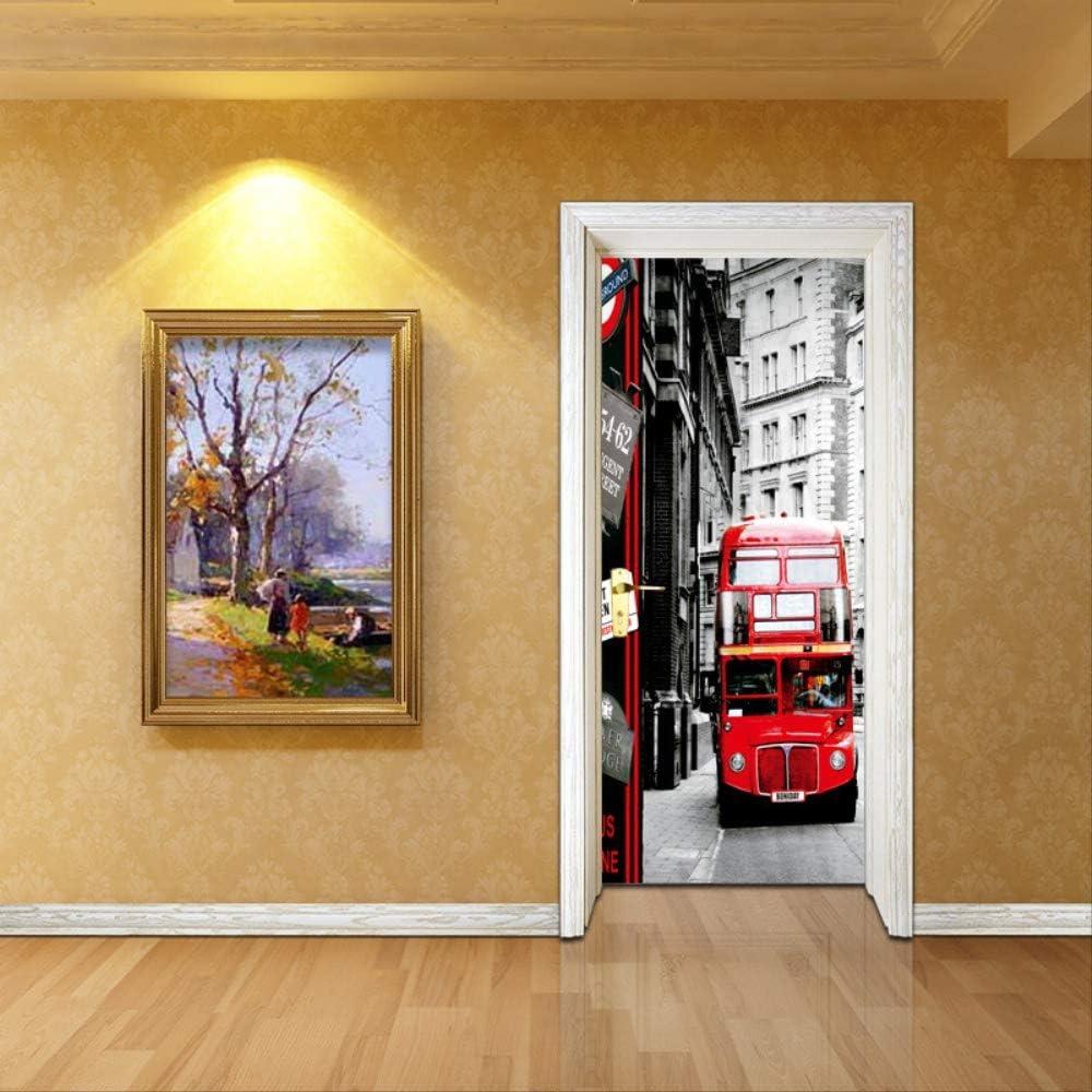Arte musulmán Pegatinas de puerta PVC Ascensor Entrada Impermeable DIY Renovación de puerta Autoadhesivo Decoración para el hogar Papel tapiz Dormitorio