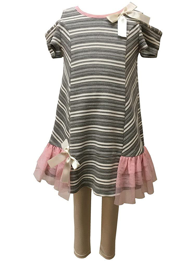 Caeli Kids Little Girls Pink Gray Knit Ruffle Cold Shoulder 2 Pc Outfit 4-6X