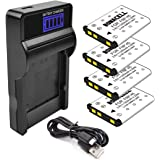 Bonacell NP-45 Battery(4 Pack) and LCD Charger Kit Comatiple with FinePix XP120 XP95 XP90 XP50 XP60 XP70 XP80 T350 T360 T400