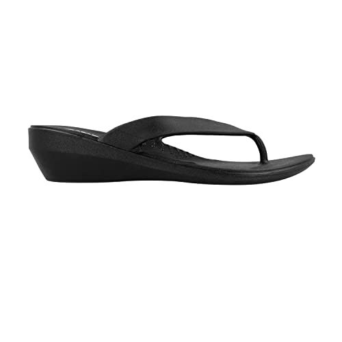 2bf39e4ded5fca Okabashi Womens Lakeside Thong Flip Flop Sandals (Black
