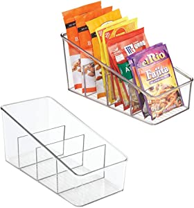 mDesign Large Plastic Food Packet Organizer Caddy - Storage Station for Kitchen, Pantry, Cabinet, Countertop - Holds Spice Pouches, Dressing Mixes, Hot Chocolate, Rice, Taco Seasoning ; 2 Pack - Clear