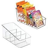 mDesign Large Plastic Food Packet Organizer Caddy, Fridge or Freezer - Storage for Kitchen, Pantry, Cabinet, Countertop - Spi