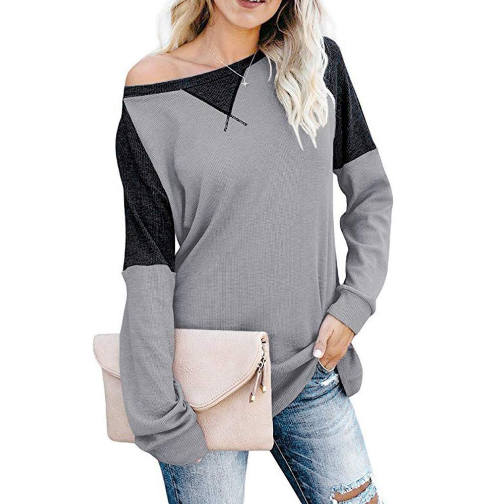 DRAGONHOO Women's Color Block Splicing Round Neck Tunic Tops Casual Long Sleeve Blouse (XXL, Gray) by DRAGONHOO
