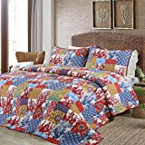 Cozy Line Home Fashions Vintage Patchwork Quilt Bedding Set, Antique Figure Carving Pattern 100% COTTON Reversible Coverlet, Bedspread, Gifts for Women NEW Arrival (Vibrant Multi, Queen - 3 piece)