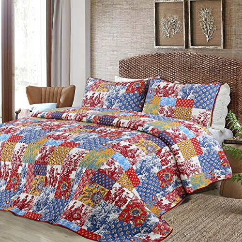 Cozy Line Home Fashions Vintage Patchwork Quilt Bedding Set, Antique Figure Carving Pattern 100% COTTON Reversible Coverlet, Bedspread, Gifts for Women NEW Arrival (Vibrant Multi, Queen - 3 piece) by Cozy Line Home Fashions