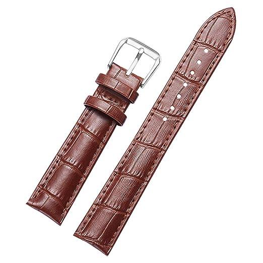 63b0318683d0 24 mm Correas de Reloj de reemplazo marrón Correa de Reloj de Pulsera  Impermeable de Cuero Genuino para el Hombre y la Mujer  Amazon.es  Relojes