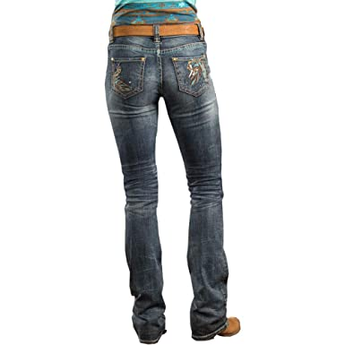 e570a1ee9c0 Rock and Roll Cowgirl Women s Mid-Rise Bootcut Jeans in Dark Vintage W1-8714