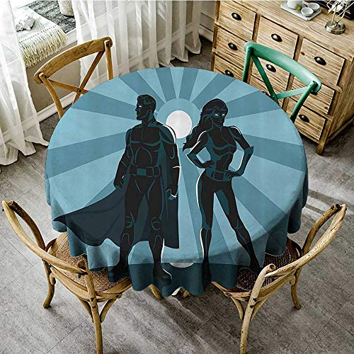 familytaste Tabletop Cloth Round Superhero,Man and Woman Superheroes Costume with Masks and Capes Night Protector in Moonlight,Blue Teal D 36