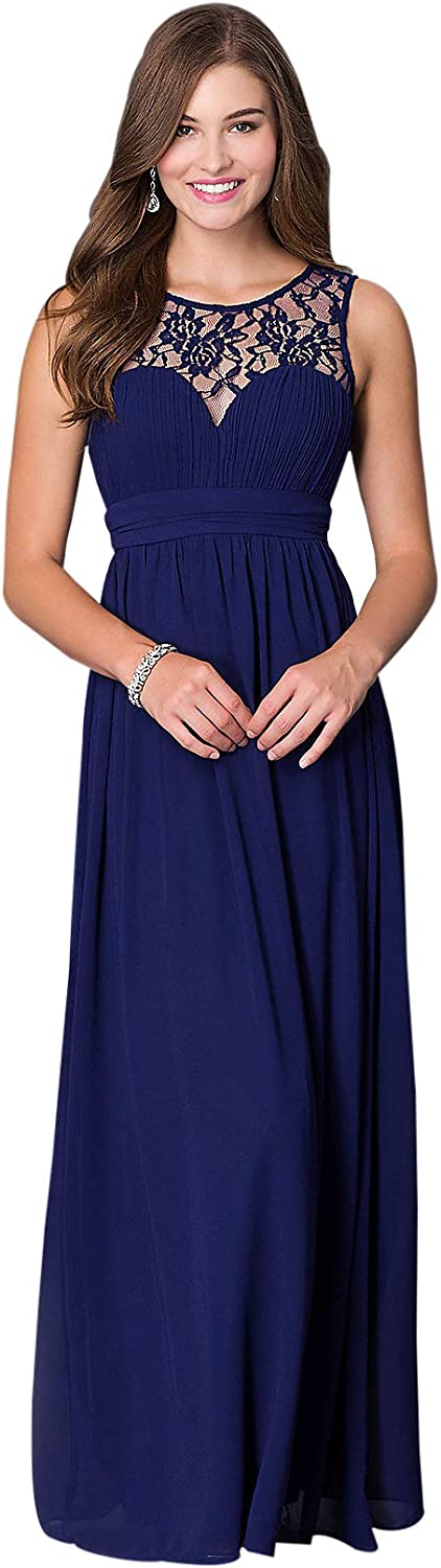 Womens A Line Round Neck Lace Bridesmaid Dress Long Chiffon Formal Evening Gown