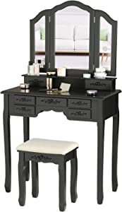 Tiptiper Makeup Vanity Table, Vanity Set with Tri-Folding Mirror & Sturdy Stool, Dressing Table with 8 Necklace Hooks & 7 Drawers, Dresser Desk for Women Girls, Black