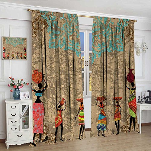 smallbeefly African Patterned Drape For Glass Door Vintage Girls with Pots on the Head on Folkloric Boho Background Illustration Waterproof Window Curtain 84