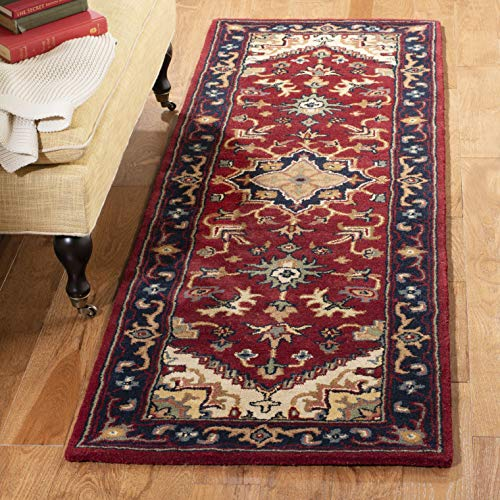 Safavieh Heritage Collection HG625A Handcrafted Traditional Oriental Heriz Medallion Red Wool Runner (2