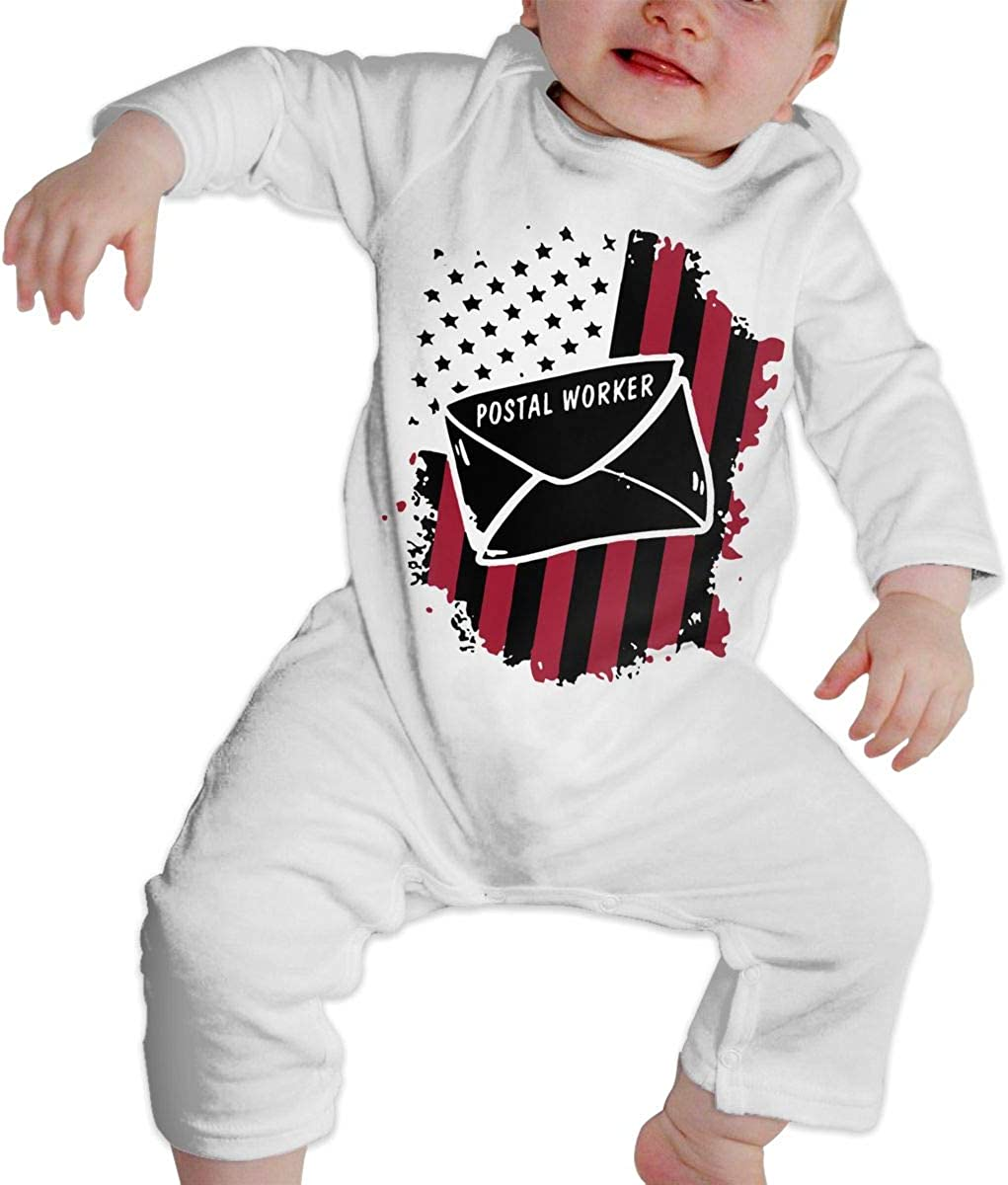 YELTY6F Postal Worker US Flag Printed Boys Girls One-Piece Suit Long Sleeve Outfits White